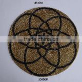 Round brown Black Glass bead place mats with flower patterns available in more colours and patterns