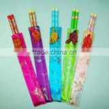 wholesale bamboo wedding gift chopsticks, reusable chopsticks by fabric bag packing