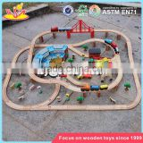 wholesale 142 pcs children construction toy wooden toy train track new design kids wooden toy train track W04C072