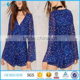 2017 Lancai fashion clothing new style long sleeve blue chiffon women romper custom star print playsuit