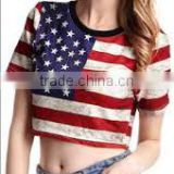 American flag Black White Tees latest new design short style lady printing graphic t shirt for women