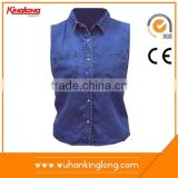Top quality casual shirts light blue fashion full sleeves jean manufacturer