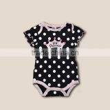 2014 latest dot baby rompers 100% cotton black wave-point snap princess imperial crown rompers