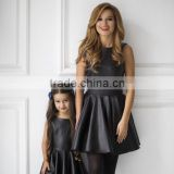 Little Black Dress Wholesale Clothing Sleeveless Leather Mom And Daughter Dress Matching