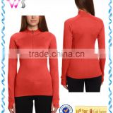 100% polyester heavyweight underwear ladies 1/2 zip training long sleeved shirt