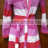 2014 Xinbo Women's Pink Stripe Luxury Snuggle Lightwear Pool Gym Spa Beach Bath Robe