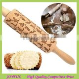 Top quality wooden embossing patterned cat rolling pin