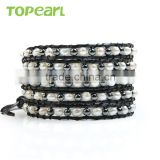 Topearl Jewelry 2016 Popular Freshwater Pearl Hematite Bracelet Woven Leather Wrap Bracelets for Women 33.5 Inches CLL132