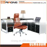 Modern luxury 1.97m stainless steel frame leather covered black office executive desk table with latest design