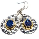 TITANIUM DRUZY EARRING 925 SOLID STERLING,SILVER EXPORTER,STERLING SILVER JEWELRY,SILVER EARRING
