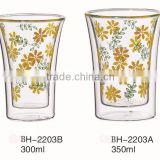 CE/EU/FDA/SGS/LFGB MOUTH BLOWN PRINTING DOUBLE WALL GLASS CUP FOR COFFEE/TEA/WATER/BEER/JUICE WITH DECAL