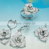 PT90071 Crystal Cz Crystal Stone Jewellery Set Flower Necklace Earring Ring Sets Fashion 925 Sterling Silver Jewelry