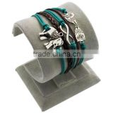 Newest Wholesale DIY Fashion Jewelry PT2189 Elephant 8 Owl Charms Cord Braided Leather Bracelet