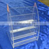 4 tiers clear acrylic brochure holder/stand/case