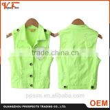 Made in China Latest fashion designs woven sleeveless beaded lemon and orange color ladies jacket for women