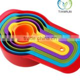 NEW 6pcs COLOURFUL Eco-Friendly PLASTIC MEASURING SPOONS & CUPS RAINBOW MULTI COLOURED FLAT