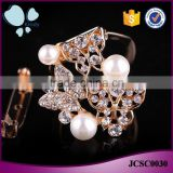 Women accessories jewelry pearl zinc alloy rhinestone butterfly shaped animal scarf clip brooch
