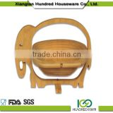 Folding bamboo fruit basket,empty fruit basket with handles