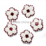 Yiwu Factory Price Beautiful Rhinestone Buttons, Flower Red And White Color Rhinestone Buttons,