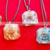 Orgone Faceted Square Pendant Chakra Set | Orgonite Square Pendant Sets ( With Cord) | Orgonite Wholesaler