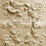 Fish to dragon wall relief sculpture marble stone hand carved for decoration from Vietnam