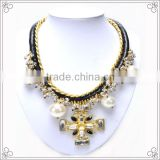 Factory Sale Flower Crystal Cross Necklace With 4pcs Pearl