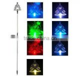 Color changing plastic christmas tree solar garden stake light SO30106H