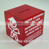 elegant red print wholesale acrylic donation box,acrylic suggestion box,plexiglass acrylic square box