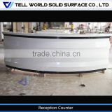 Arc shape reception desk white beauty salon