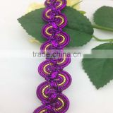 custom five layers braid colorful gold lurex wave lace trimmings