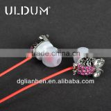 ULDUM 2013 bling diamond owl shape funny metal microphone in-ear earphone metal headphone