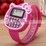 New customized KT cat computer electronic watch Cartoon multi-function students calculator watch for kids