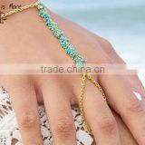 handmade Turquoise gold hand chain bracelet with ring
