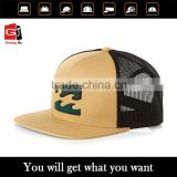 Whoesale Custom High Quality Khaki 100% Cotton Twill 3D Embroidery Flat Peak Trucker Hat Mesh Snapback Cap                                                                         Quality Choice