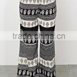Casual women custom yoga pant skirt, floral boder print plus size palazzo long pants - SYK15316