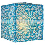 wholesale Turquoise Blue Block Printed Square Paper Lantern for Home decoration
