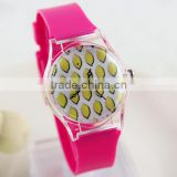 Unisex wholesale pvc strap stainless steel back custom printing kids wrist watches