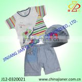 kids clothing wholesale for little boy fashion summer wear set t-shirt and denim short