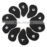 Black 10 pcs Golf Club Iron Putter Head Cover HeadCovers Protect set Neoprene