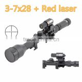 1pc rifle air guns 3-7X28 Optics Cross Reticle Scope +20mm Rail Mounts +Red Dot Laser Sight For Hunting Weapon Rifle