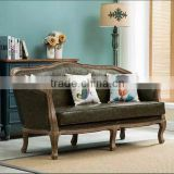 Carved wood frame and leather sofa sets 2016