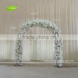 GNW FLA1609018 hot white artificial cherry blossom and wisteria wedding flower arch for decoration