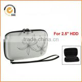 "Protectron T5 2.5"" Inch Portable Case For Hard Drive HDD. Protective Bag With Flower Texture. Blue By Chiqun"