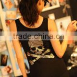 Bling Bling Skull Rhinestone Transfer Hotfix Strass Motif For Tank Top Custom Design