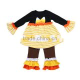 Wholesale ruffle pants sets cotton icing ruffle stripe girls back to school outfits