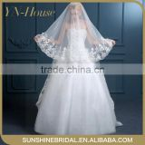 High Quality Fabric Graceful Perfect Long Tulle Wedding Veil With Appliqued Bridal Veils