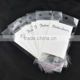 "White Ear Hooks Earring Display Cards(with ""Fashion Jewelry"" print) W/Self Adhesive Bags"
