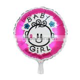 Party Supplies Party Decorations Round Fuchsia Girl Pattern Baby Shower Decoration Aluminium Foil Balloon