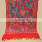 Wool Pashmina shawl with fancy wool embroidery