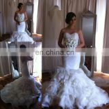 Free shipping elegant mermaid sweetheart organza pleats ruffles wedding gown bridal dress JWD048